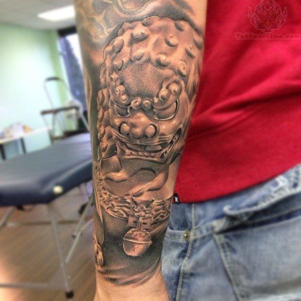 Foo Dog Tattoo On Men Arms