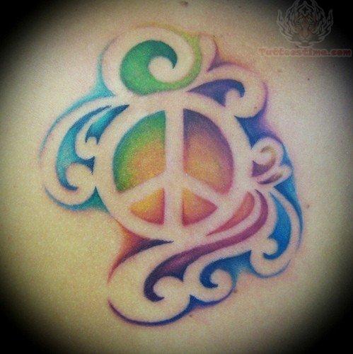 Colorful Peace Tattoo Tattoos