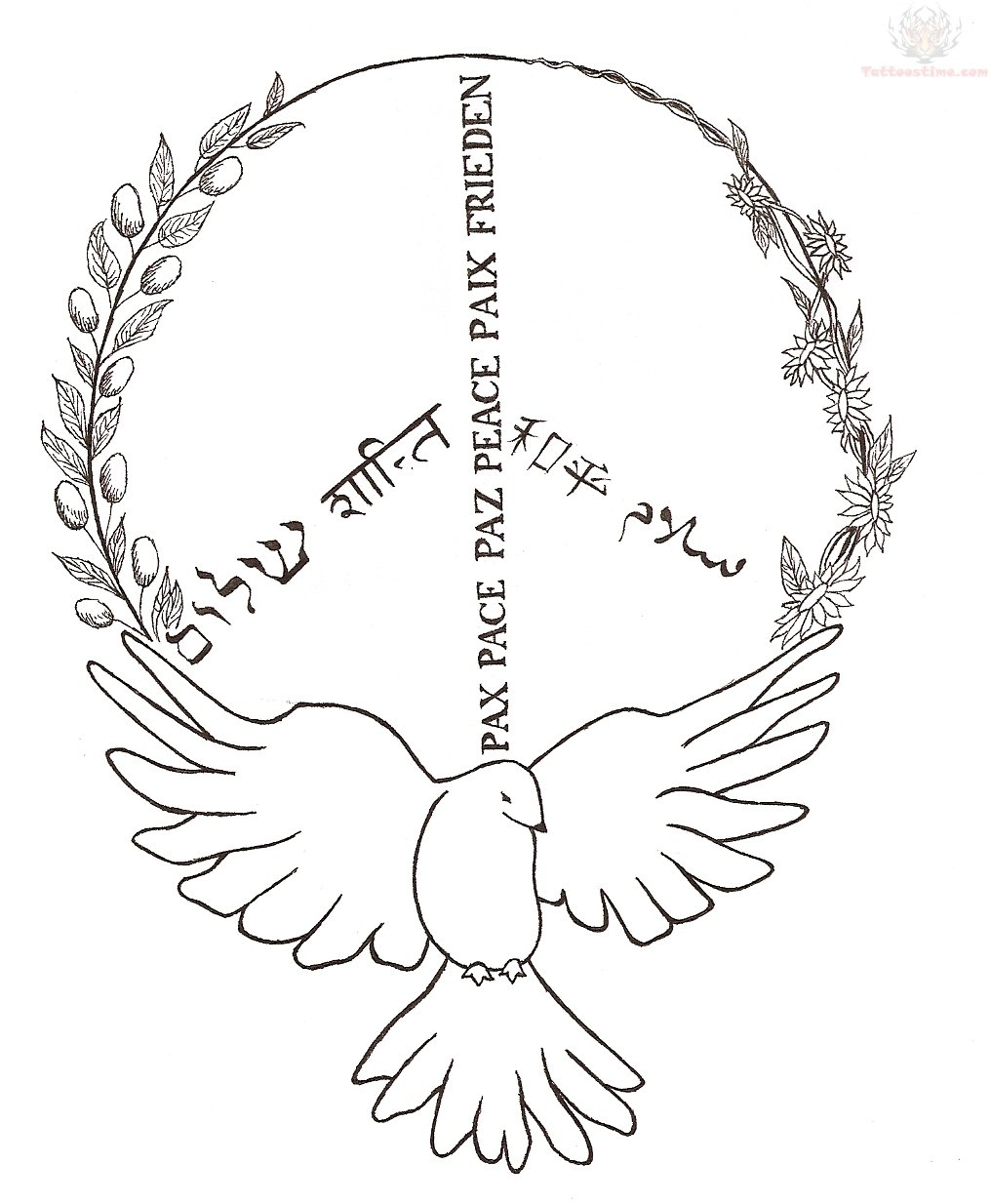 Dove and Peace Sign