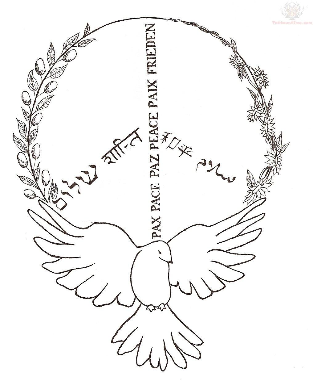 Dove And Peace Sign Tattoo Design