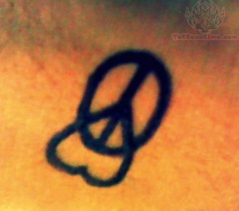 heart and peace sign tattoo