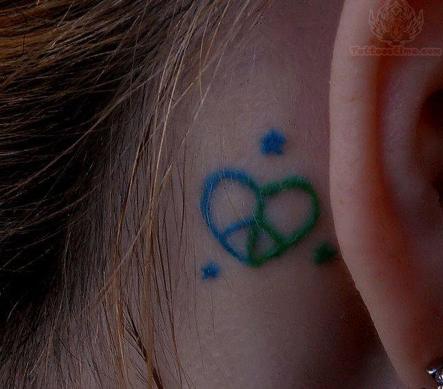 Heart Peace Tattoo Behind Ear