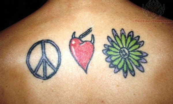Peace love happiness tattoo on back for Peace love happiness tattoo