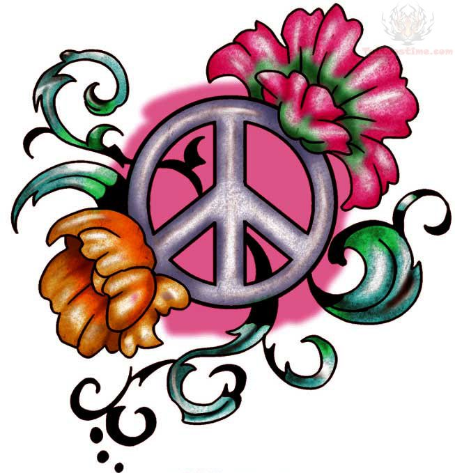 Peace sign flower Tattoo Design