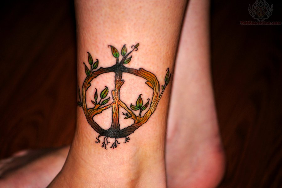 Wooden Peace Sign Tree Tattoo