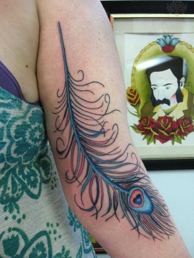 Beautiful peacock feather tattoo on half sleeve for Beautiful half sleeve tattoos