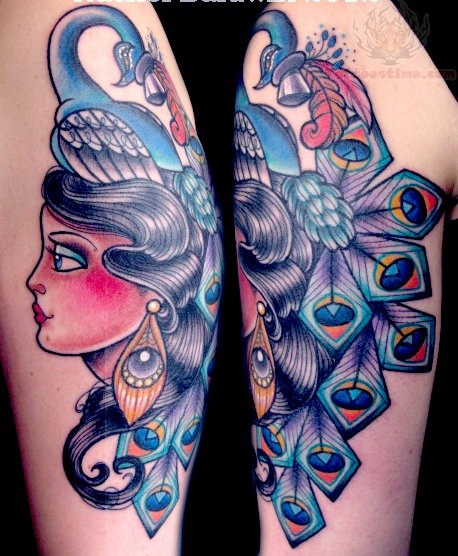 Bicep peacock feather girl head tattoo for Girl head tattoo