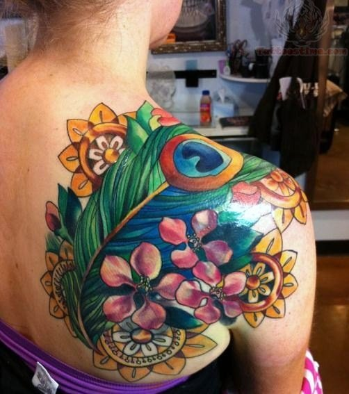 Flower And Peacock Tattoo On Back Shoulder