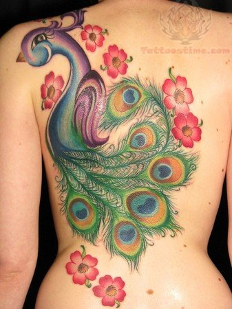 Flowers and peacock tattoo on back for Peacock tattoo on back