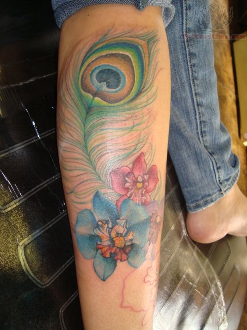 Leg Peacock Feather And Flower Tattoo