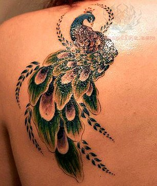 Peacock back shoulder tattoo for girls for Peacock tattoo on back