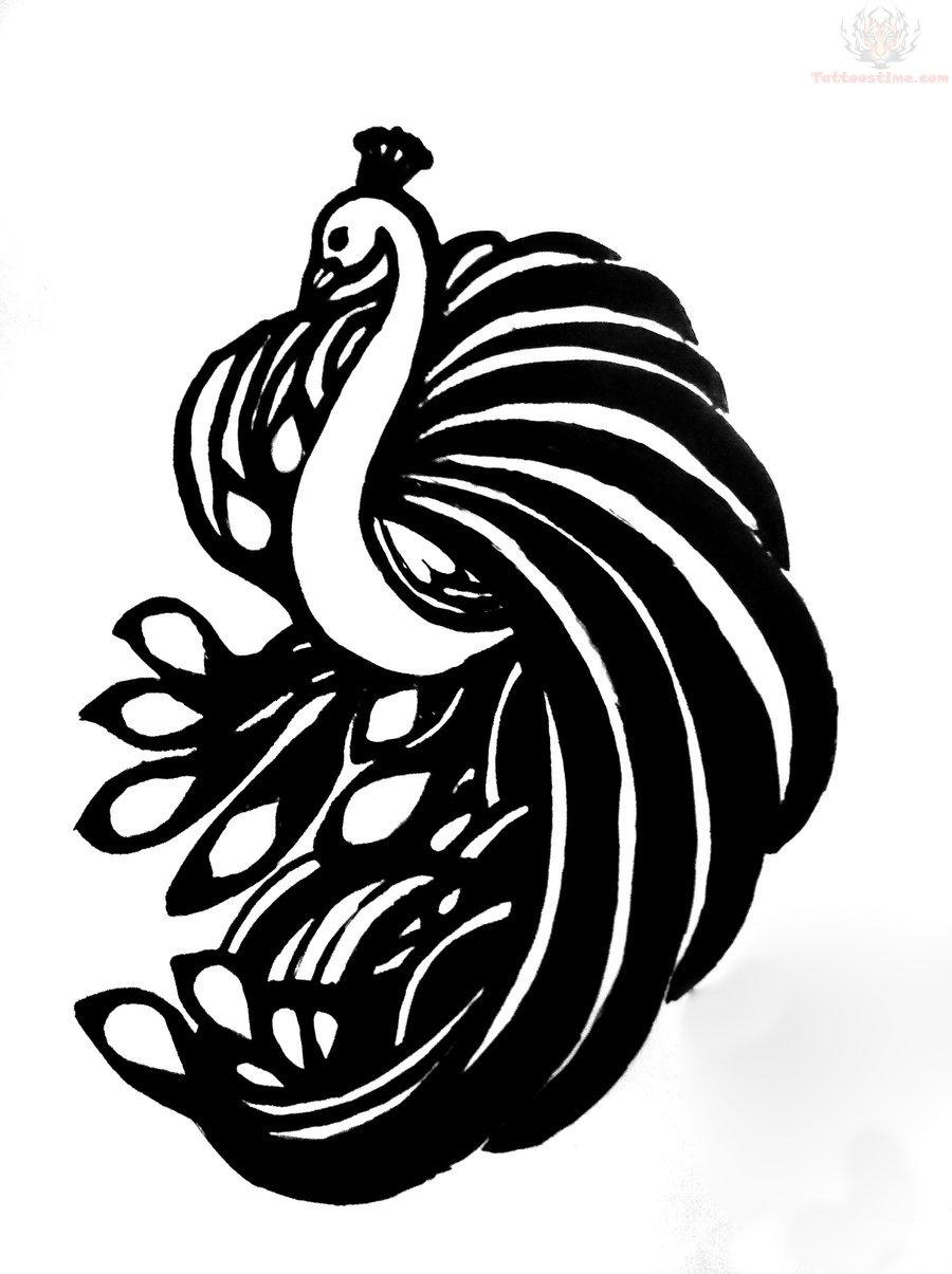 peacock outline tattoo design. Black Bedroom Furniture Sets. Home Design Ideas