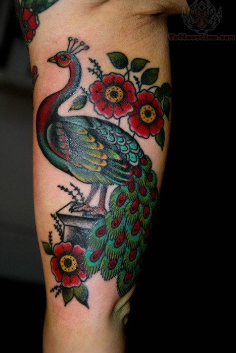 Red And Green Ink Peacock Tattoo