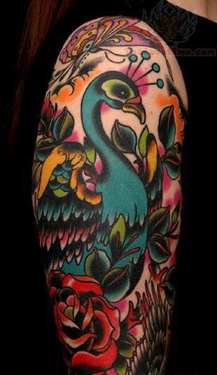 Red peacock tattoo - photo#8