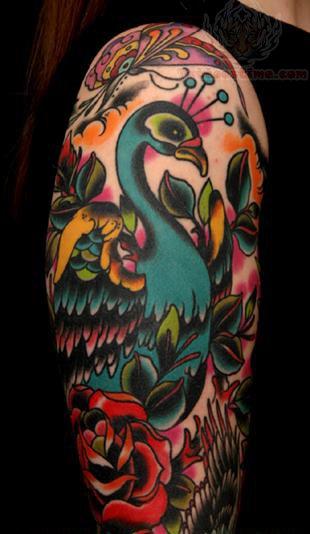 Red peacock tattoo - photo#8