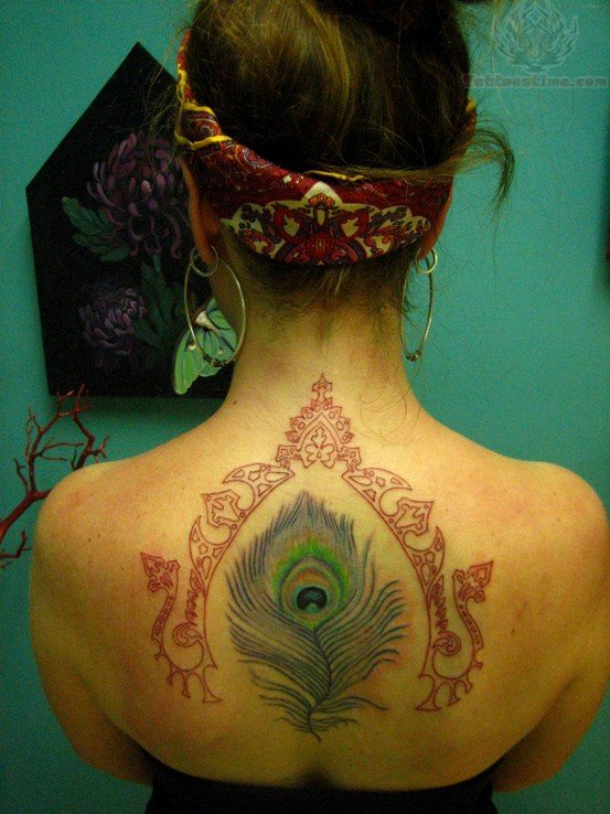 Upperback Peacock Feather Tattoo