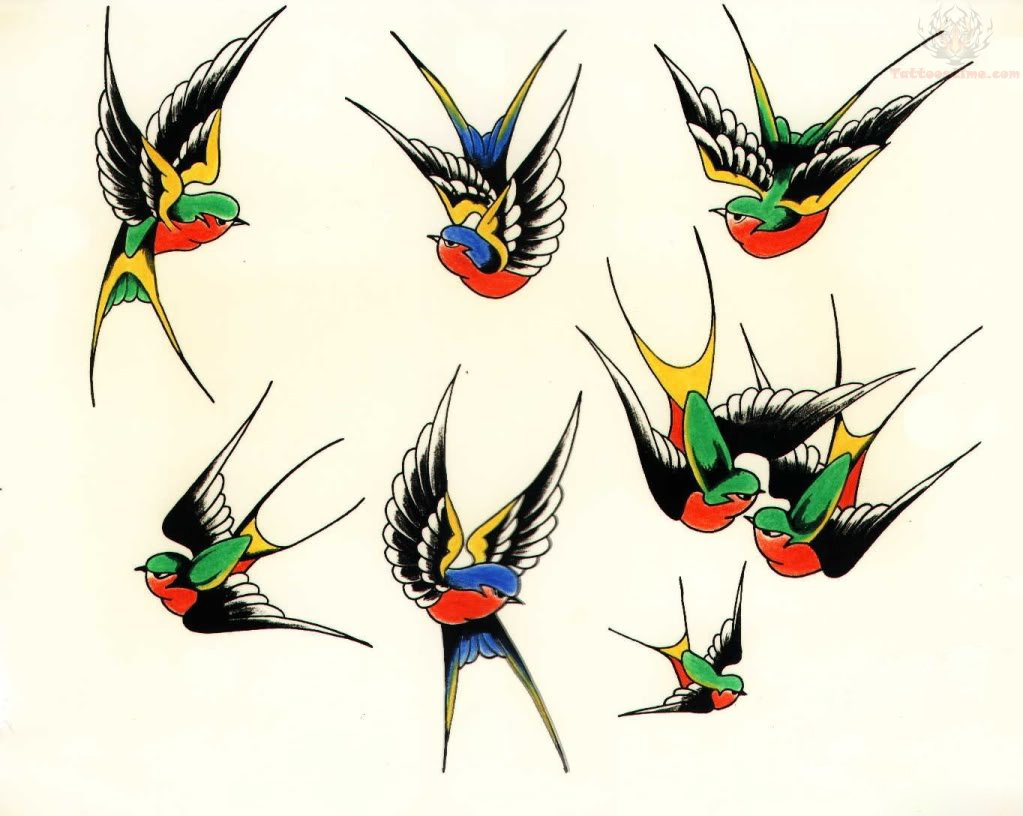 Old School Swallow Tattoo Flash