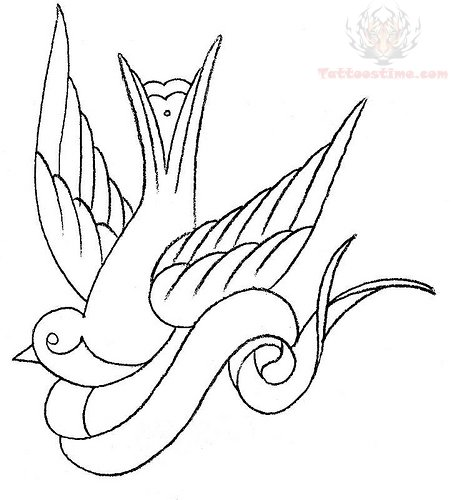 Line Drawing Name Designs : Outline swallow and banner tattoo