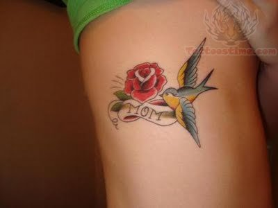rose tattoo with bird tattoo design. Black Bedroom Furniture Sets. Home Design Ideas