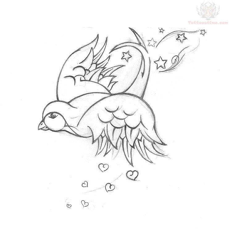 Swallow flying bird tattoo design