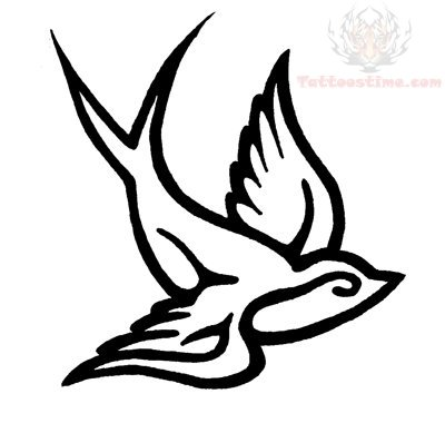 Swallow Outline Tattoo Design