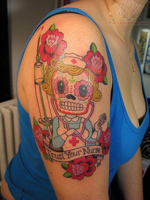 nurse sugar skull tattoo on shoulder. Black Bedroom Furniture Sets. Home Design Ideas