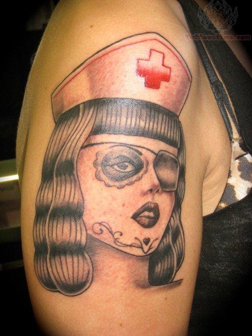diabolical nurse tattoo on leg. Black Bedroom Furniture Sets. Home Design Ideas