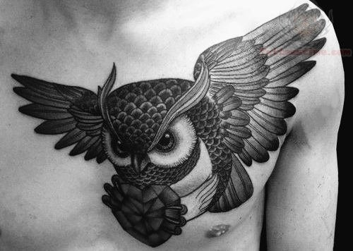 White Owl Chest Tattoo