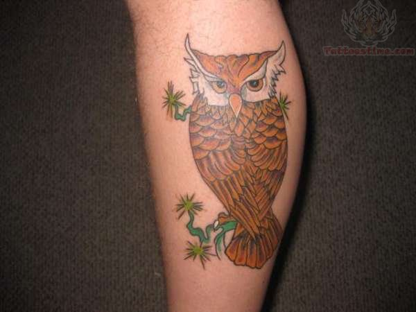 Brown color ink owl tattoo for Brown tattoo ink