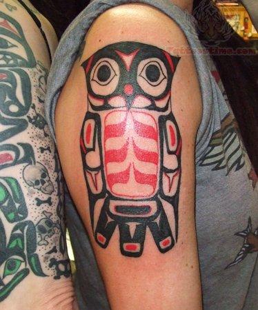 color ink aztec owl tattoo on bicep. Black Bedroom Furniture Sets. Home Design Ideas