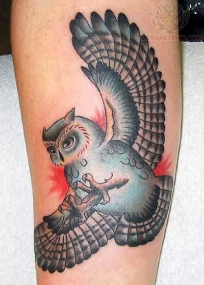 color ink flying owl tattoo. Black Bedroom Furniture Sets. Home Design Ideas