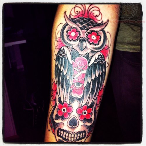 Flower eyes skull and owl tattoo for Owl and sugar skull tattoo