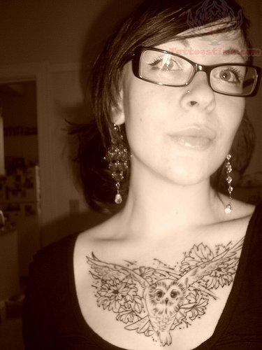 Owl Chest Tattoo Girl