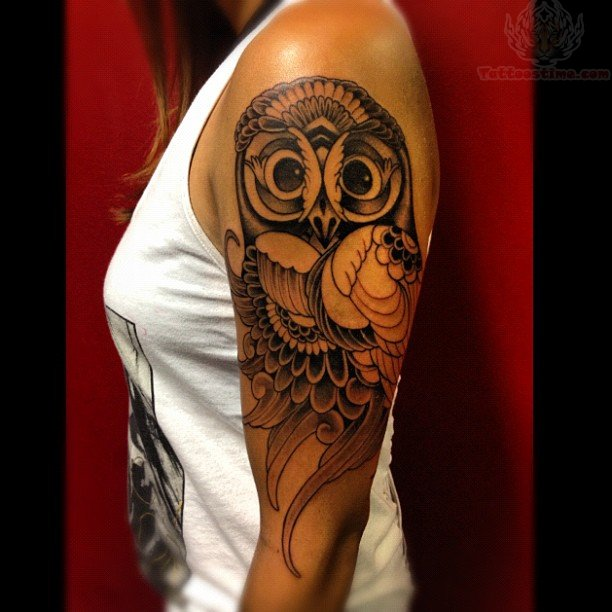 Owl Biceps Tattoo For Girls Owl Sleeve Tattoos For Girls