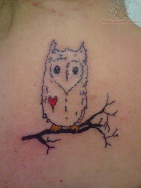 Owl little red heart tattoo for Owl heart tattoo