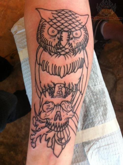 Owl on skull tattoo on arm for Owl and sugar skull tattoo