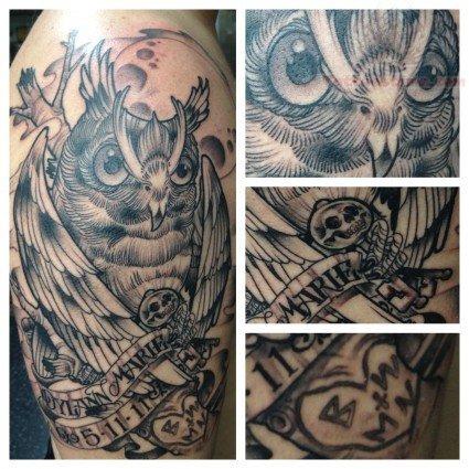 Owl tattoo On Men Shoulder