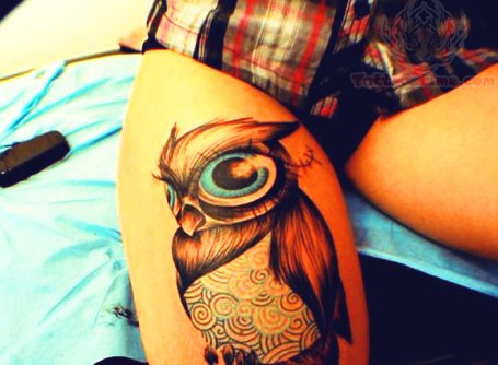 Owl Thigh Tattoo For Girls