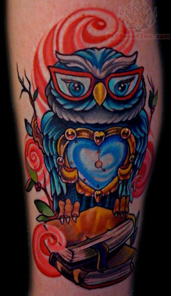 Owl with clock heart tattoo for Owl heart tattoo