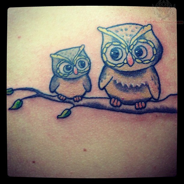 Owlet Sitting On Branch Tattoo