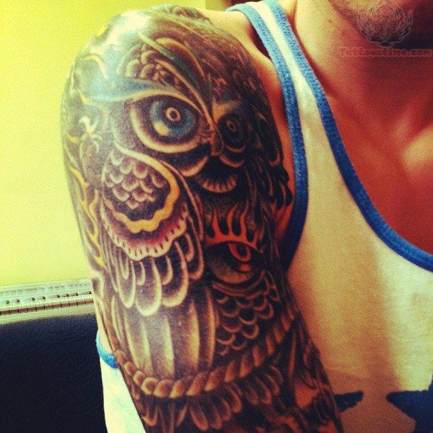 Owl Half Sleeve TattoosOwl Half Sleeve Tattoos