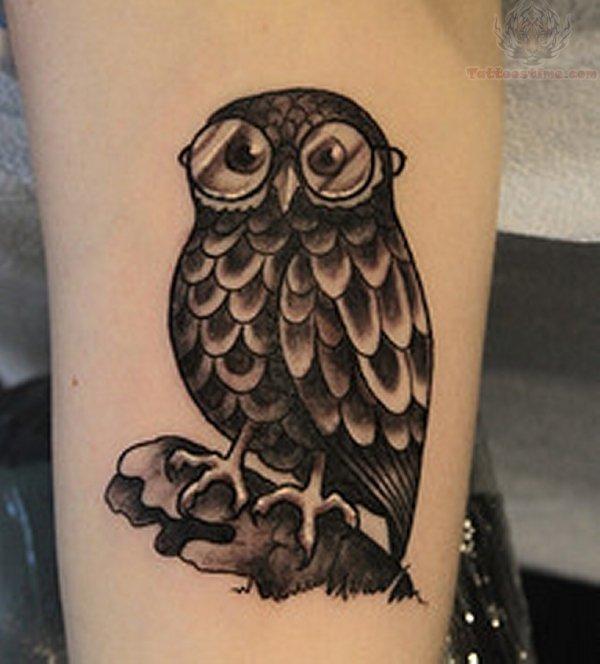 Black Ink Owl Tattoo on Men Owl Tattoos For Men