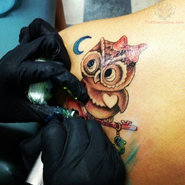 Blue Moon and Owl Tattoo