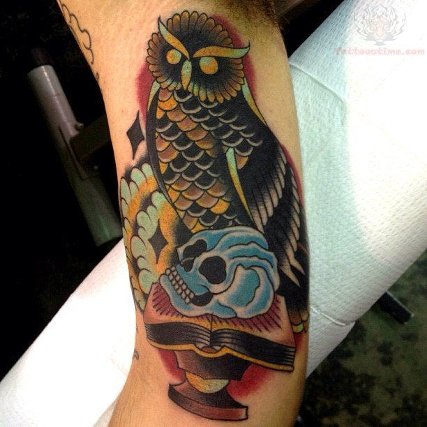 Blue Skull And Owl Tattoo On Bicep