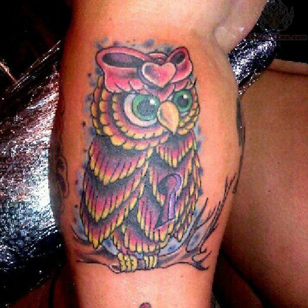 Bow heart on owl head tattoo for Owl heart tattoo