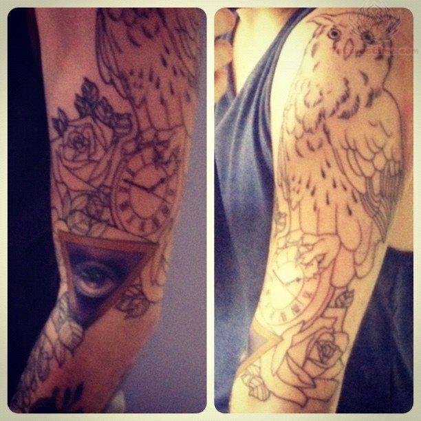 Clock and owl tattoo on half sleeve for Clock tattoo half sleeve