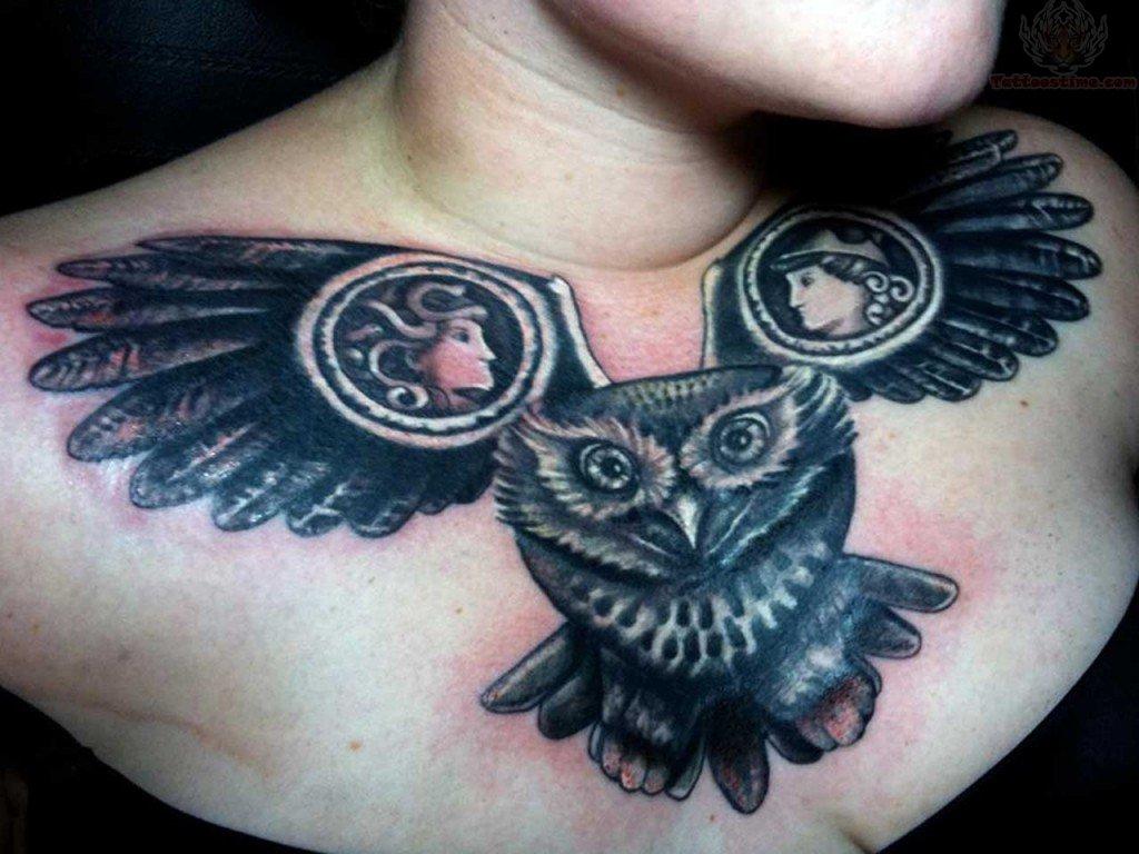 Girl Owl Under Chest Tattoos Flying Owl Tattoo on Girl