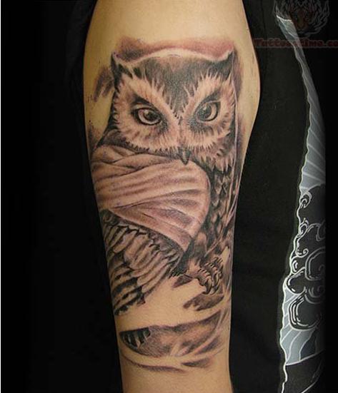 grey ink owl half sleeve tattoo. Black Bedroom Furniture Sets. Home Design Ideas