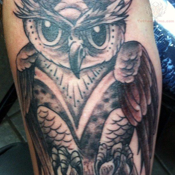 grey ink owl tattoo on half sleeve. Black Bedroom Furniture Sets. Home Design Ideas