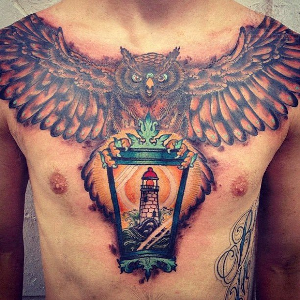 Owl Chest Tattoodenenasvalencia